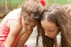 Summer, childhood, leisure and people concept - happy little Gir Royalty Free Stock Photo