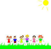 The summer and children. Children  keeping for hands and the sun shining Royalty Free Stock Image