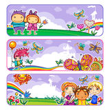 Summer Children Banners Stock Images