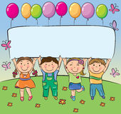 Summer children hold blank banner Royalty Free Stock Photography