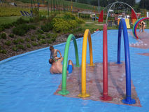 Summer in children`s swimming pools royalty free stock photography