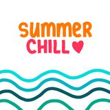 Summer chill hand drawn lettering with illustration waves. Colorful cartoon minimalism vector illustration