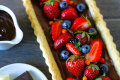 Summer chocolate tart with berries Royalty Free Stock Photo