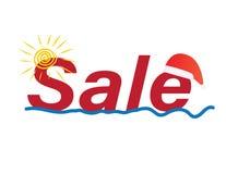 Summer Christmas sale banner, Sun, sea and santa`s hat vector illustration
