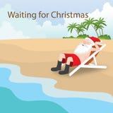 Summer Christmas Santa Beach Scene. Royalty Free Stock Photography