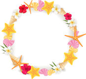 Summer circle frame. Circle frame background from summer elements - seashell, starfishes, flowers Royalty Free Stock Photo