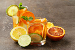 Summer citrus lemonade with orange, lime Stock Photography