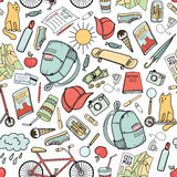 Summer in the city: colorful hand drawn doodle seamless pattern Stock Images