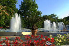 Summer city fountains Royalty Free Stock Images