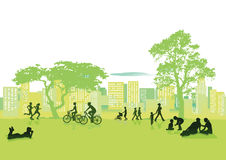 Summer in city. An illustration of people in a park enjoying the summer in the city Royalty Free Stock Photos
