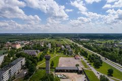 Aerial photography. Small city landscape, amazing clouds. Summer city landscape. Aerial photography Stock Photo