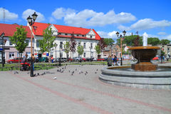 Summer city landscape with the fountain at Victory Square Royalty Free Stock Photography