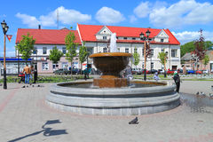 Summer city landscape - the fountain at Victory Square Stock Photo