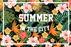 Summer in the City, palm leaves and flowers, design element for banner, poster, brochure, flyer colorful vector Stock Photos