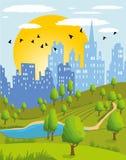 Summer city park. Cartoon illustration of a summer city park Stock Images