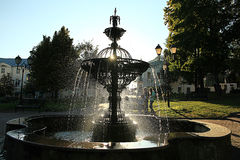 Summer city park with fountain Royalty Free Stock Photo