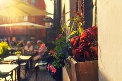 Summer city restaurant at sunset Stock Image