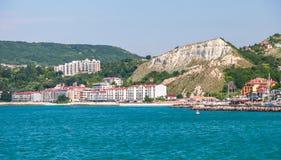 Summer cityscape of Balchik resort town Stock Photos