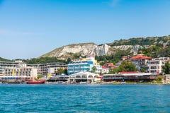 Summer cityscape of Balchik town. Bulgaria Royalty Free Stock Photography