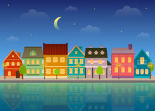Summer cityscape at night. Royalty Free Stock Photography