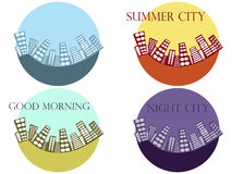 Summer cityscape. Summer city. Icons cities. Vector illustration. Royalty Free Stock Image
