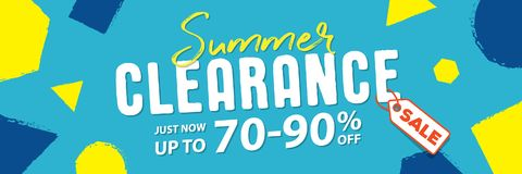 Summer clearance 70 to 90 percent off Banner vector heading desi. Gn fun style for banner or poster. Sale and Discounts Concept Stock Photo