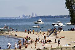 Summer in Cleveland. A summer day off the shores of Lake Erie - Cleveland Ohio skyline in distance Royalty Free Stock Image