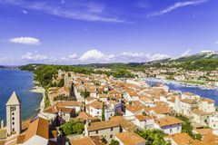 Summer is closer. Beautiful scenic picture of rab siland city from croatia royalty free stock photography