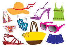 Summer clothes. Collection of summer clothes, shoes and accessories Stock Photography