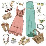 Summer clothes collection for young women and girl. Vector illustration fashion design. Cute pretty hand drawn set  on white background. Female casual object Stock Image