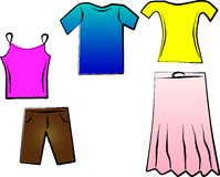 Summer clothes illustration Royalty Free Stock Photography
