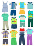 Summer clothes for little boys. Set of summer clothes for little boys isolated on white background Royalty Free Stock Photography