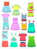 Summer clothes for little girls Royalty Free Stock Image
