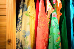 Summer clothing in a closet Royalty Free Stock Image