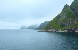 Summer cloudy coast view (Norway, Lofoten). Royalty Free Stock Photo