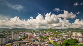 Summer cloudy day phuket patong hotel roof panorama 4k time lapse thailand stock footage