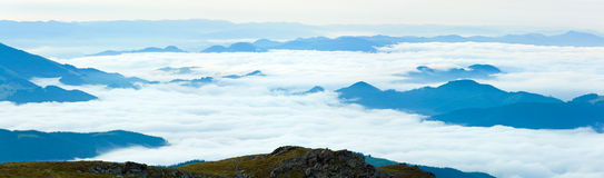 Summer cloudy mountain panorama view Stock Images