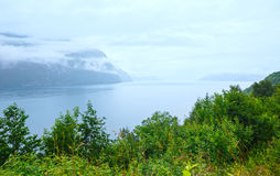 Summer cloudy sea coast view (Norway). Royalty Free Stock Photo