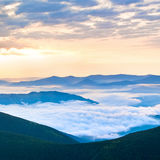 Summer cloudy sunrise in mountain Royalty Free Stock Photos