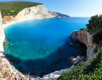 Summer coast with beach  (Lefkada, Greece). Beautiful summer coast  panorama with white sandy  Porto Katsiki beach (on the left)  on Ionian Sea (Lefkada, Greece Stock Photos
