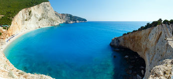 Summer coast panorama (Lefkada, Greece). Beautiful summer Porto Katsiki beach panorama with white sand on Ionian Sea (Lefkada, Greece). Two shots composite Royalty Free Stock Image