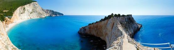 Summer coast panorama (Lefkada, Greece). Beautiful summer Porto Katsiki beach panorama with white sand on Ionian Sea (Lefkada, Greece). Three shots composite Royalty Free Stock Photos