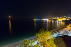 Summer coastline night view (Albania) Royalty Free Stock Images