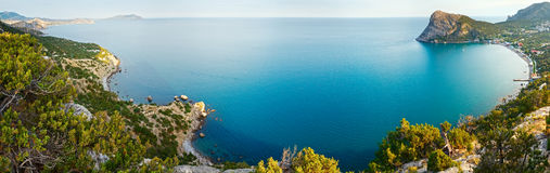 Summer coastline panorama (Crimea, Ukraine). Stock Photos