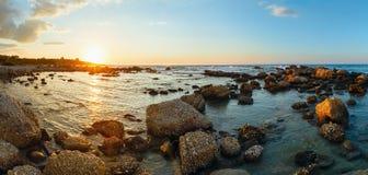 Summer coastline sunset (Greece, Zakynthos, Alykes, Ionian Sea). Stock Photos