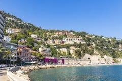 Summer coastline in Villefranche-sur-Mer, City of Nice, France Stock Photography