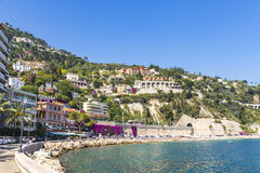 Summer coastline in Villefranche-sur-Mer, City of Nice, France Stock Photography