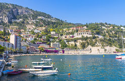 Summer coastline in Villefranche-sur-Mer, City of Nice, France Royalty Free Stock Photos