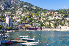 Summer coastline in Villefranche-sur-Mer, City of Nice, France Stock Photos