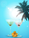 Summer cocktail  blue background portrait Stock Image
